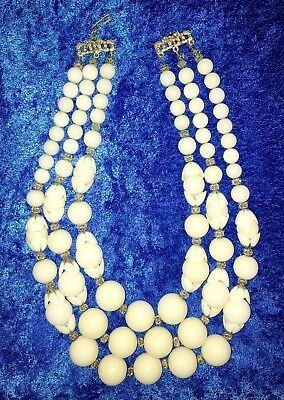 Vintage Heavy Triple Strand White Celluloid & Rondell w/Brass Bead Necklace