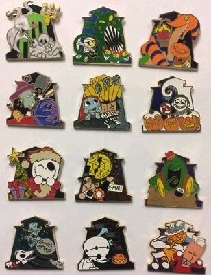 Disneyland Haunted Mansion Holiday 2017 Nightmare Mystery 12 Pin Set - 6 Chasers