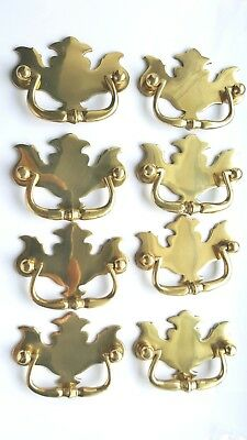 New Set 8 polished brass antique style drawer pull cabinet furniture handles