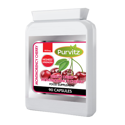 Pure Montmorency Cherry HIGH Strength 1500mg Per Strong Capsule UK Freeze Dried