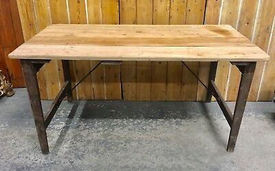 Vintage Rustic Industrial Folding Pine Trestle Table. Kitchen. WW2 Stamped.