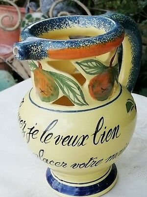 Vintage Henriot Quimper French Faience Pottery Puzzle Jug 'Drink If You Can'
