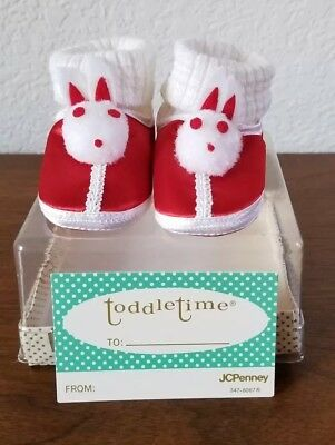 Adorable VTG Toddle Time Bunny Newborn Shoes Japan JC Penny W Box Shower Gift