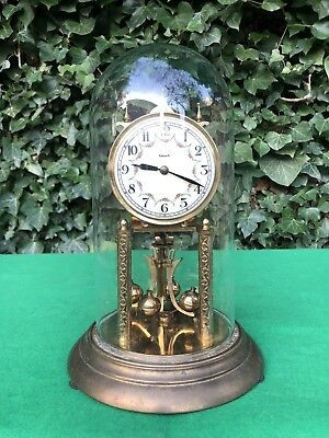 Vintage German Euramca 400 Day Anniversary Torsion Clock Glass Dome