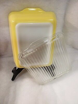 Vintage Pyrex Yellow 1 1/2 Qt Large Milk Glass Refrigerator Dish 503 & Lid