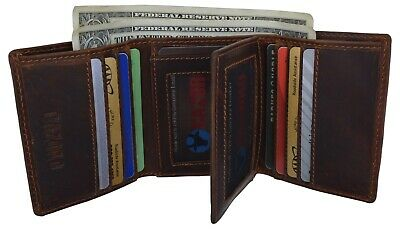 RFID Blocking Cazoro Mens Premium Vintage Leather Trifold Credit Card ID Wallet