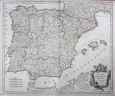 Portugal Portuguesa Spanien Espana Spain Karte map Kupferstich antique print