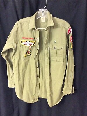 Vintage Official Boy Scouts Shirt Olive Green 1950-60's Sanforized Long Sleeve