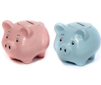 Childs Ceramic Piggy Banks Pink and Blue 2ct