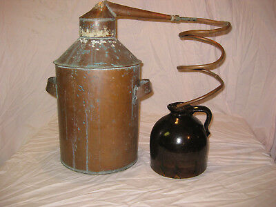 Antique Copper Moonshine Still with Coil and Antique Moonshine Jug LQQK!!!!