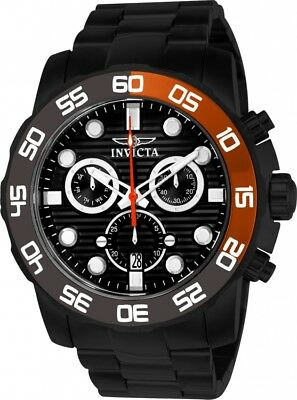 New Mens Invicta 21556 Pro Diver Chronograph Black Dial Steel Bracelet Watch