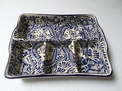 Mexican Talavera Pottery Ceramic Kitchen Blue Divided Relish Condiment Tray