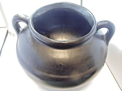 Vintage RRPC Roseville Footed Double Handled Art Pottery Black Bowl Cauldron