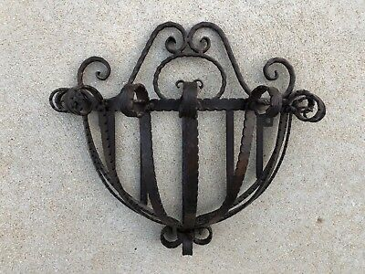 Antique Vintage Ornate Wrought Iron H / Round Wall Hanging Planter Holder Sconce