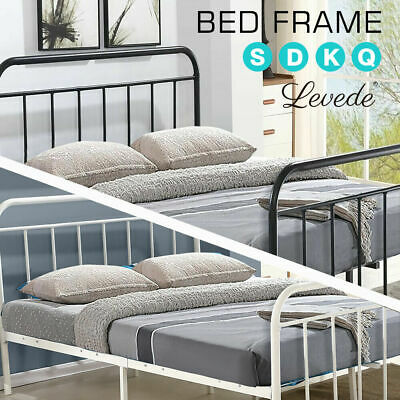 Levede QUEEN KING DOUBLE SINGLE Metal Bed Frame Mattress Base Size Bedroom BK/WH