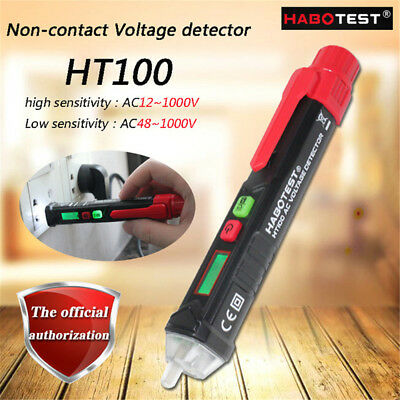 50-60Hz AC 12-1000V Non Contact AC Voltage Detector Pen Style LCD Voltage Tester