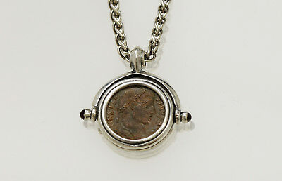 Sterling Silver Necklace with a Genuine Ancient Roman Bronze Coin. w/Cert-015