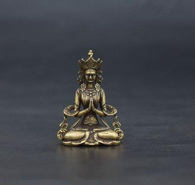 Chinese old antique buddhism pure brass vajra Buddha small statue
