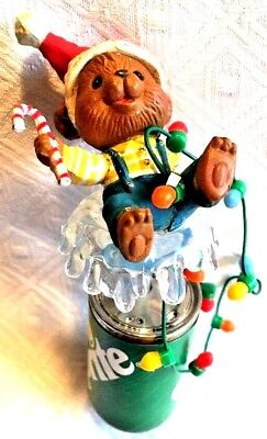 1993 Enesco Teddy Bear on Sprite Soda Can with Christmas Lights Vintage Ornament