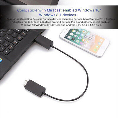 For Microsoft Wireless Display Adapter V2 Receiver HDMI And USB Port Black.^