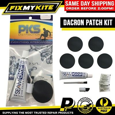 Kite Sail Dacron Patch Kit Kiteboard Windsurf Adhesive Pin Holes Rip Fray Repair