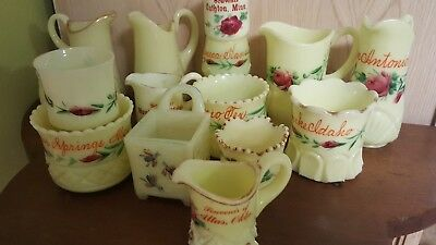 Vintage Custard Glass Souvenir COLLECTION 16 Pieces