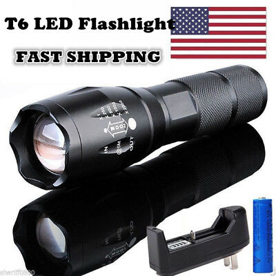 Tactical 10000LM 5 Mode LED Flashlight Zoom Focus Torch Lamp Light 18650 Charger