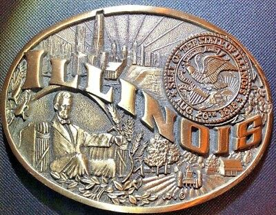 VINTAGE 1980s/90s ILLINOIS STATE COMMEMORATIVE SOLID BRASS BELT BUCKLE QF03158