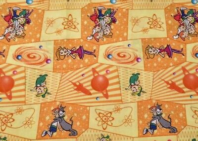 """3/4 yard """"Meet George and Jane JETSON"""" colorful gold cotton space TV cartoon"""