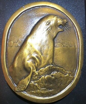 Vintage 1977 Seal Brass Belt Buckle Indiana Metal Craft Commemorative L97