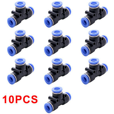 10pcs Tube 6mm 1/4 Tee Union Pneumatic Push Connector Air Line Quick Fittings ws