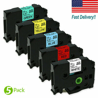 5 PK Black on White Label Tape Compatible for Brother Tape TZ 231 TZe 231 12mm
