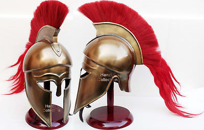 Medieval Hollywood Costume Armor Roman Greek Corinthian Helmet with Wood Stand