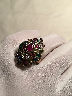 Hand Made Antique Vintage Genuine Color Enhanced Ruby CZ Size 8.25 Brass Ring