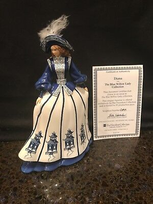 """""""Diana"""" Figurine From The Hamilton Blue Willow Lady Collection No: 0786A COA"""