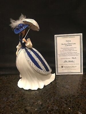 """""""Felicia"""" Figurine From The Hamilton Blue Willow Lady Collection No:0552A COA"""