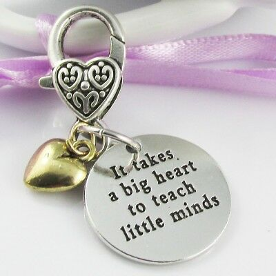 Teacher Gift It Takes a Big Heart Clip on Charm for Bag Keychain Lanyard 50mm