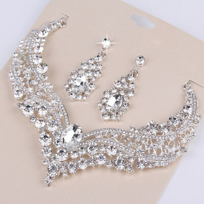 Crystal Rhinestone Drop Earrings Necklace Wedding Prom Bridal Party Jewelry Set