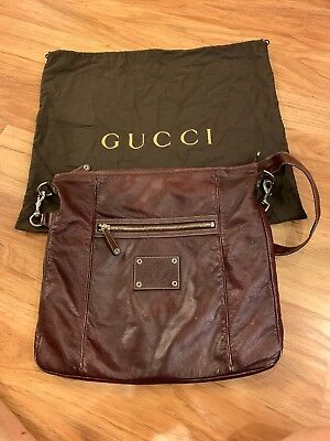 4408bba8cf8 AUTHENTIC VINTAGE GUCCI Cross-body BAG purse Brown leather -  51.00 ...