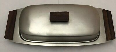 Vintage Stainless Steel Butter Dish With Wooden Handles. Great Looking Design.