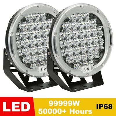 9inch 99999W LED Driving Lights SPOT Round Silvery Spotlights OffRoad 4x4 4WD