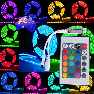 RGB LED Strip Lights Waterproof 5050 5M 300 LEDs 12V + 24 key IR Controller 2018