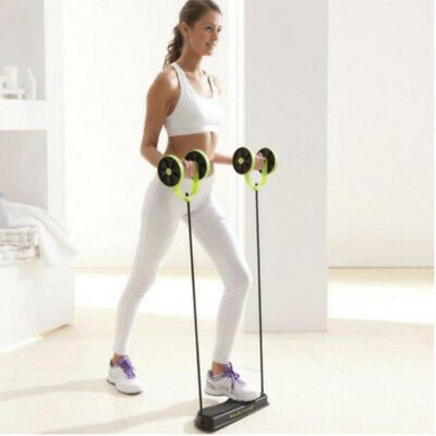 Core Double Wheels Ab Roller Pull Rope Abdominal Muscle Wheel Waist Slimming