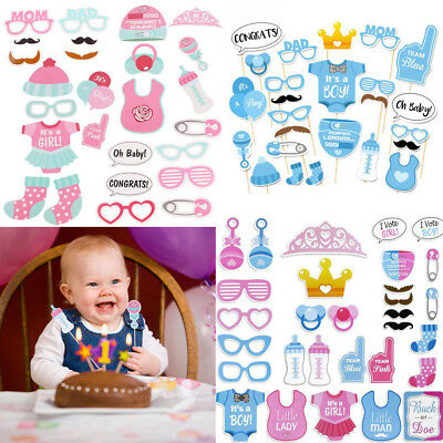 Baby Shower Photo Booth Props Little Boy Girl Mister New Born Party Decoration