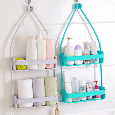 2 Tier Bathroom Shower Caddy Shelf Rack Bath Hang Holder Cup Organiser Storage