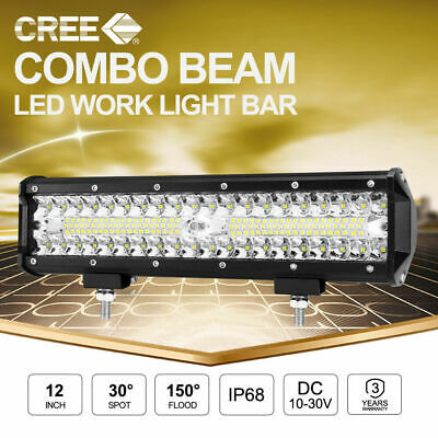12inch CREE LED Work Light Bar 3Rows SPOT FLOOD OffRoad Fog Driving 4x4 Reverse