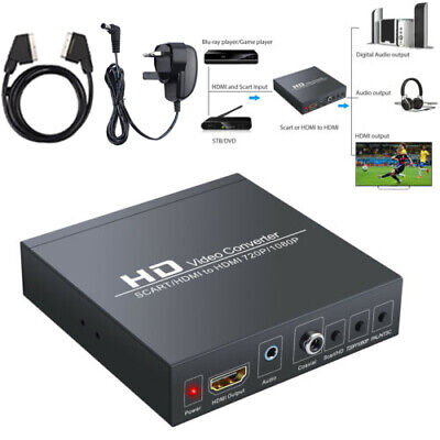 720P/1080P SCART to HDMI Converter SCART Adapter RGB CVBS  Stereo Audio STB DVD