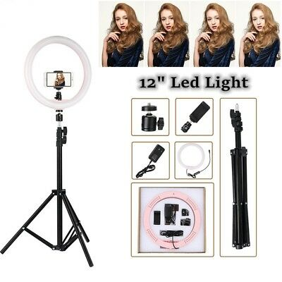 """12"""" Dimmable LED Ring Light 5500K Photography Photo Studio Phone Youtube + Stand"""