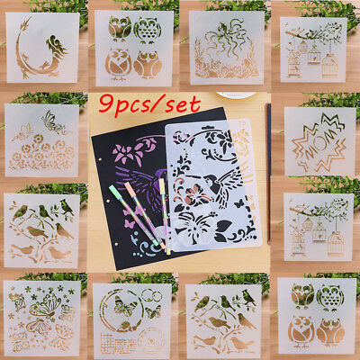 9PCS/set Layering Stencils Walls Painting Scrapbooking Template Decor DIY Craft