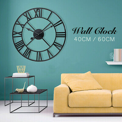 60Cm Big Giant Open Face Round Extra Large Roman Numerals Skeleton Wall Clock Bo
